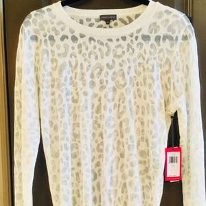 Vince Camuto Leopard Print City Blues Ivory Top